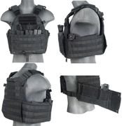 Lancer Tactical Airsoft MilSim 69T4 MOLLE Plate Carrier Vest with Triple Inner Mag Pouch in Black CA-311B2