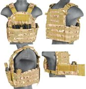 Lancer Tactical Airsoft MilSim 69T4 MOLLE Plate Carrier Vest with Triple Inner Mag Pouch in Modern Land Camo CA-311C2
