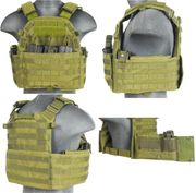Lancer Tactical Airsoft MilSim 69T4 MOLLE Plate Carrier Vest with Triple Inner Mag Pouch in OD Green CA-311G2