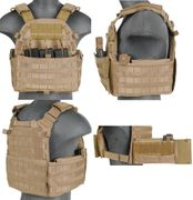 Lancer Tactical Airsoft MilSim 69T4 MOLLE Plate Carrier Vest with Triple Inner Mag Pouch in Tan CA-311T2