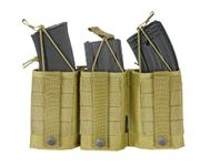 M4, M16, AR15, or AK47 Triple Wedge MOLLE Open Top Mag Pouch in Khaki