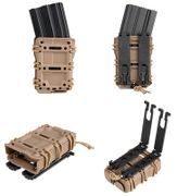 Scorpion Style 5.56 High Speed M4 Open Top Tactical Retention MOLLE Mag Pouch in Tan