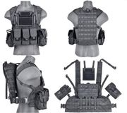 Lancer Tactical Airsoft MilSim Modular Chest Rig Vest with Hydration Bladder in Black CA-307BN