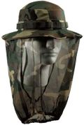Woodland Camouflage Boonie Hat with Built In Mosquito Netting