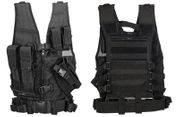 Lancer Tactical Childrens Youth Size Kids Cross Draw Vest with Mag Pouches in Black CA-310