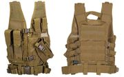 Lancer Tactical Childrens Youth Size Kids Cross Draw Vest with Pouches in Khaki CA-310