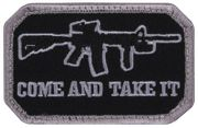 Come and Take It Airsoft Milsim M4 AR15 Hook and Loop Morale Patch Black Rifle Version