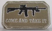 Come and Take It Airsoft M4 AR15 Black Rifle Hook and Loop Morale Patch Tan Version