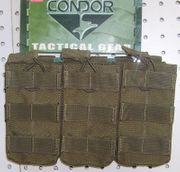 Condor Tactical Triple M4 M16 AR15 Open Top Bungee Retention Magazine Pouch MA27