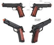 Double Bell MEU M1911 GBB Gas Blowback Airsoft Gun Training Pistol with Real Wood Grips DB-728MB