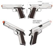 Double Bell Silver Chrome M1911 GBB Gas Blowback Airsoft Gun Training Pistol DB-723Y