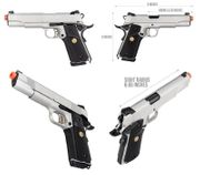 Double Bell Silver Chrome M1911 GBB Gas Blowback Airsoft Gun Training Pistol with Carry Case DB-728P