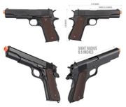 Double WWII M1911A1 GBB Gas Blowback Airsoft Gun Training Pistol with Carry Case DB-720