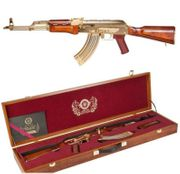 G&G Armament Limited Edition Gold Plated GKM Airsoft EBB Electric Blowback AEG Gun with Real Wood Furniture