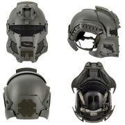 Interstellar Space Battle Trooper Airsoft FAST Helmet with Full Face Protection in Gray Ghost