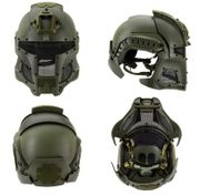 Interstellar Space Battle Trooper Airsoft FAST Helmet with Full Face Protection in OD Green