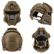 Interstellar Space Battle Trooper Airsoft FAST Helmet with Full Face Protection in Tan
