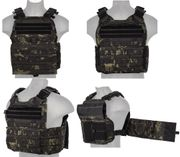 Lancer Tactical Airsoft MilSim Modular MOLLE Plate Carrier Vest in Modern Land Dark Night Camo CA-2190MB
