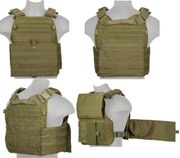 Lancer Tactical Airsoft MilSim Modular MOLLE Plate Carrier Vest in Olive Drab Green CA-2190G