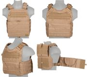 Lancer Tactical Airsoft MilSim Modular MOLLE Plate Carrier Vest in Tan CA-2190T