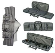 Lancer Tactical 600D Polyester 42 Inch MOLLE Double Rifle Gun Back with Pockets in Gray Ghost CA-343GY2
