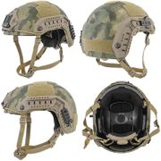 Lancer Tactical Airsoft MilSim Maritime FAST Tactical Advanced Helmet L/XL with Rails and Accessories in AT-FG Camo CA-806F