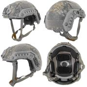 Lancer Tactical Airsoft MilSim Maritime FAST Tactical Advanced Helmet L/XL with Rails and Accessories in Woodland Digital Marpat Camo CA-806W
