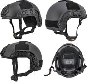 Lancer Tactical Airsoft MilSim Maritime FAST Tactical Advanced Helmet M/L with Rails and Accessories in Black CA-805B