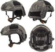 Lancer Tactical Airsoft MilSim Maritime FAST Tactical Advanced Helmet M/L with Rails and Accessories in Dark Night Black Camo CA-805U