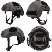 Lancer Tactical Airsoft MilSim Maritime FAST Tactical Advanced Helmet M/L with Rails and Accessories in Gray Ghost CA-805S