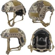Lancer Tactical Airsoft MilSim Maritime FAST Tactical Advanced Helmet M/L with Rails and Accessories in HLD Scorpion Camo CA-805H