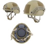 Lancer Tactical ACH MICH 2000 MilSim Railed Helmet Special Action Version in Tan CA-837T