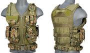 Lancer Tactical Adult Size Nylon Cross Draw Combat Vest with Mag Pouches in Digital Marpat Camo CA-310DN
