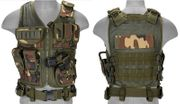 Lancer Tactical Adult Size Nylon Cross Draw Combat Vest with Mag Pouches in Woodland Camo CA-310WN