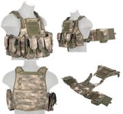 Lancer Tactical Airsoft MilSim Assault Gear Plate Carrier Vest with Pouches in AT-FG Camo CA-305F