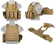 Lancer Tactical Airsoft MilSim Assault Gear Plate Carrier Vest with Pouches in Tan CA-305TN