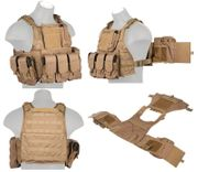 Lancer Tactical Airsoft MilSim Assault Gear Plate Carrier Vest with Pouches in Coyote Brown CA-305KN