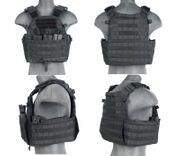 Lancer Tactical Airsoft MilSim Nylon 69T4 MOLLE Plate Carrier Vest with Triple Inner Mag Pouch in Black CA-311B2N