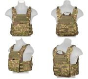 Lancer Tactical Airsoft MilSim SAPC Speed Attack Plate Carrier with Removable Shoulder Pads and Removable Cummerbund in PC Green Zone Camo CA-313P