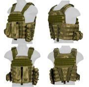 Lancer Tactical AK-47 MOLLE Assault Plate Carrier Vest in AT-FG Green Camo CA-8257