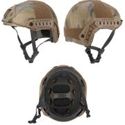 Lancer Tactical Ballistic Type Airsoft MilSim Railed Helmet Basic Version in ATFG Green Camo CA-739A