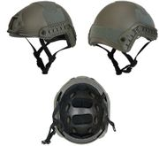 Lancer Tactical Ballistic Type Airsoft MilSim Railed Helmet Basic Version in Foliage Green CA-739G