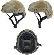 Lancer Tactical Ballistic Type Airsoft MilSim Railed Helmet Basic Version with Visor in ATFG Green Camo CA-741A