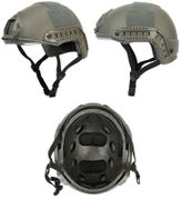 Lancer Tactical Ballistic Type Airsoft MilSim Railed Helmet Basic Version with Visor in Foliage Green CA-741G