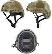 Lancer Tactical Ballistic Type Airsoft MilSim Railed Helmet Basic Version with Visor in Modern Land Camo CA-741C