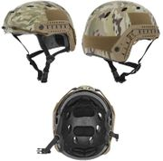 Lancer Tactical BJ NVG Basic Version with Visor Airsoft MilSim Railed Helmet in Modern Land Camo Med CA-842C