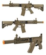 Lancer Tactical Proline Suppressed M4 SD 7 Inch Airsoft Gun in Tan LOW FPS LT-15TL-G2-ME