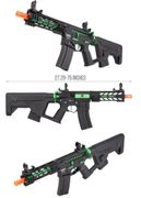"Lancer Tactical M4 Enforcer BattleHawk 7"" Skeleton Proline Airsoft AEG with MOSFET and Alpha Stock in Green LT-34BCZ7-G2-ME"