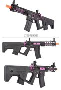 "Lancer Tactical M4 Enforcer BattleHawk 7"" Skeleton Proline Airsoft AEG with MOSFET and Alpha Stock in Purple LT-34BCP7-G2-ME"