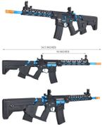 Lancer Tactical M4 Enforcer Series BLACKBIRD Skeleton Airsoft Gun AEG with MOSFET and Alpha Stock in Blue LT-30BCN-G2-ME